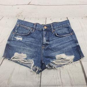 Topshop Moto Shorts Size 4 Rosa Blue Denim Cut Off
